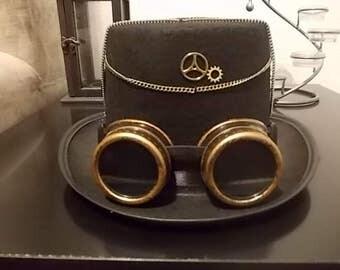 Gothic Steampunk Hut. Hat. Steampunk Goggles. Federn Steampunk Deko, Size 57