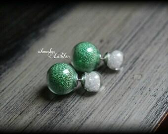 glitzy double Pearl glass Stud Earrings