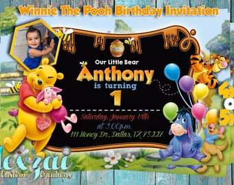 Winnie The Pooh Birthday Invitation | Winnie The Pooh Baby Shower Invitation |