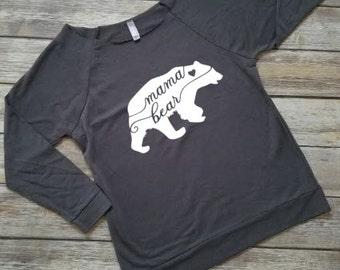 Mama Bear wideneck / off the shoulder 3/4 sleeve lightweight sweatshirt