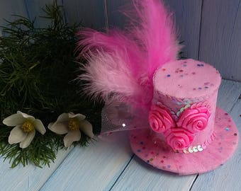 Mini Top Hat Headband Birthday Hat Pink Mini Top Hat Mad Hatter Mini Hat Tea Party Hat Alice in Wonderland Top Hat Fascinator Baby Shower