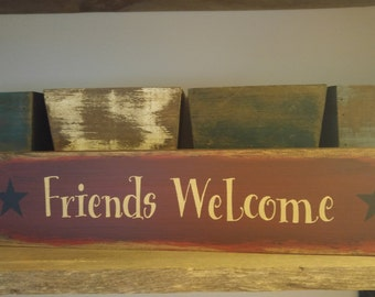 Friends Welcome Shelf Sitter Sign, Welcome Sign, Friends Welcome Sign, Wood Sign, Country Decor, Rustic, Distressed, Star, Primitive Decor