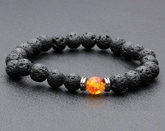 lava stone bracelet and amber