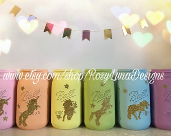 Pastel chalk rainbow mason jars with a hand painted gold glittered unicorn, birthday party jars, room decor, desk decor