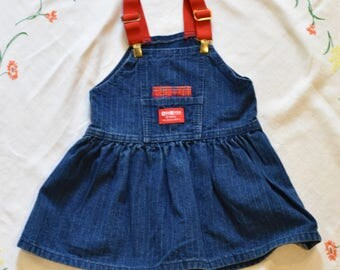 90s OshKosh B'Gosh Blue Denim Overall Dress with red straps 3T