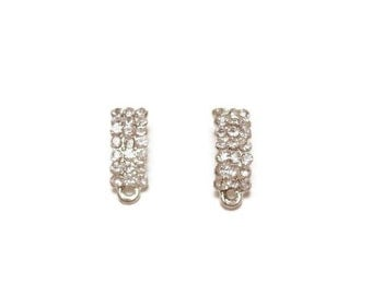 Crystal Rhinestone Silver Drop Earrings / Post Earrings / Earring Connectors / Earring Findings / Earring Components / Evening Earrings