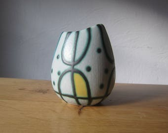 Mid century modern 50s vase with hand-painted decor