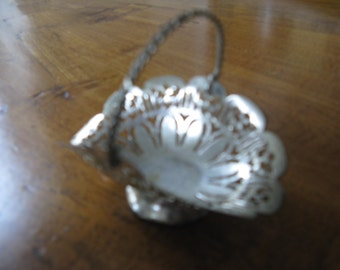 "For the dollhouse ... antique miniature ""silver"" fruit basket ... ca. 1930!"