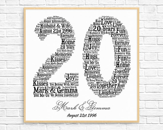 Traditional 20th Wedding Anniversary Gift: PERSONALIZED 20TH ANNIVERSARY Gift Word Art Printable Art