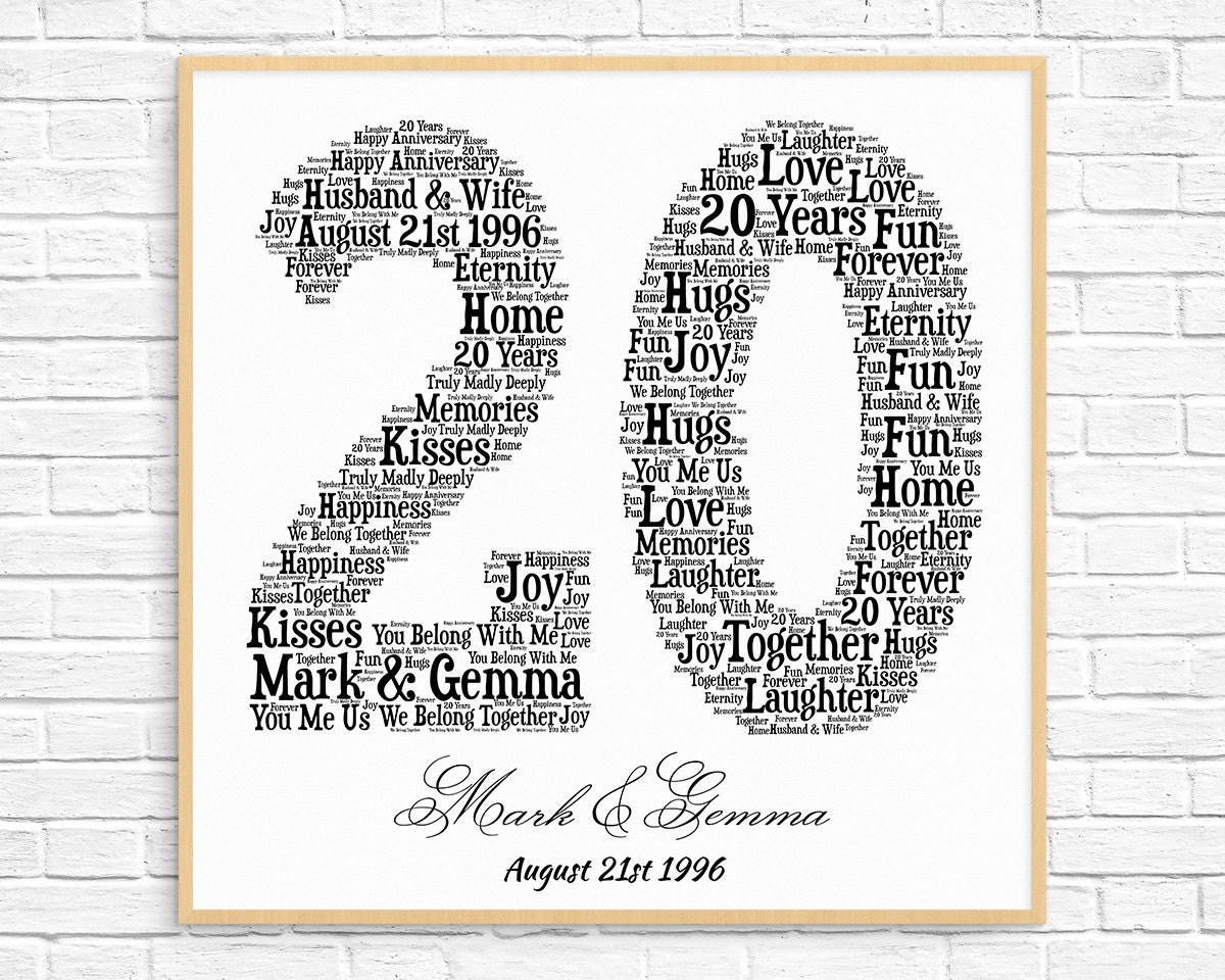 Wedding Anniversary Gifts 20 Years: PERSONALIZED 20TH ANNIVERSARY Gift Word Art Printable Art