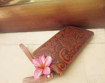 GRACIE Women Clutch / Hand tooled clutch / Boho Clutch / Handmade / leather wallet / Leather Purse / Bohemian