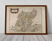 North of Scotland, Highlands - Antique Map of Wick, Inverness, Durness, Tongue, Ullapool, Dornoch, Nairn   Fine Art Print from Blaeu Atlas