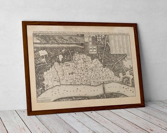 Old London Map, 1667 after the great fire. Londinium, Thames, and Tower | Fine Art Giclée Print | Old Map of London, a unique historic print