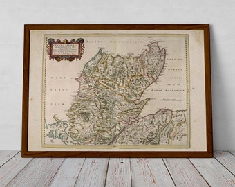 North of Scotland, Highlands - Old Map of Scotland; Wick, Inverness, Durness, Tongue, Ullapool, Dornoch | Fine Art Print from Blaeu Atlas