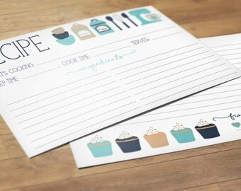 Recipe Cards, Set of 24 Cards, From The Kitchen Of