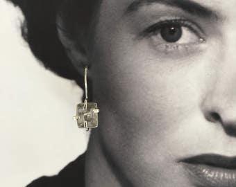 silver, blue, aquamarine, earring, Ingrid Bergman, vintage
