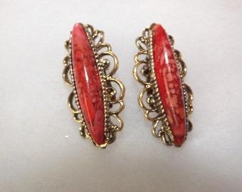 Stunning Vintage Red Turquoise Rhinestones Earrings