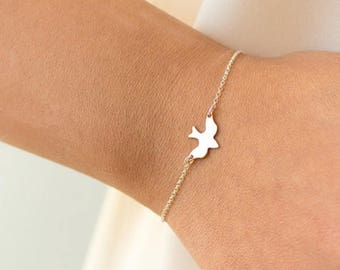 """Silver-plated bracelet """"swallow"""" delicate"""