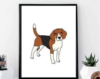 Beagle Drawing Print // Minimalist // Wall Art // Office DIY // Scandinavian // Modern Office // Fashion Poster // Dog Poster // Modern