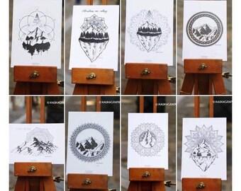 Lot 8 postcards mountains & Mandalas
