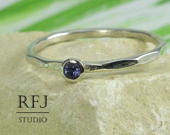Natural Iolite Faceted Silver Ring, Genuine 2 mm Round Cut Iolite Ring, Sterling Iolite Ring with Facets, Blue Iolite Textured Stacking Ring