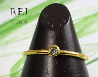 24K Gold  Lab Tourmaline Ring, October Birthstone 2mm Light Green CZ Yellow Gold Plated Ring Stackable Tourmaline Gold Ring Gold CZ Ring