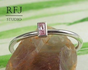 Lab Pink Diamond Baguette Cut Skinny Sterling Silver Ring, 3x1.5 mm Baguette Pink Cubic Zirconia Classic Ring Baguette Pink CZ Promise Ring