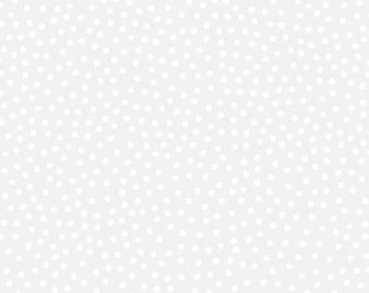"""Dot Fabric, Christmas Fabric: Santa's Stash Patrick Lose White Scattered Dots  100% cotton fabric by the yard 36""""x43"""" (N325)"""