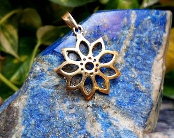 Flower pendent, boho jewelry, Brass pendent. Tribal pendent, Boho pendent. Gypsy pendent, Festival jewelry.