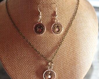 """parure necklace + earrings steampunk """"3"""""""