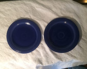 RARE Fiestaware - Vintage Cobalt Blue Dinner Plates (2)