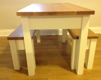 Farmhouse - Solid wood handmade table and benches with oak tops and painted legs.