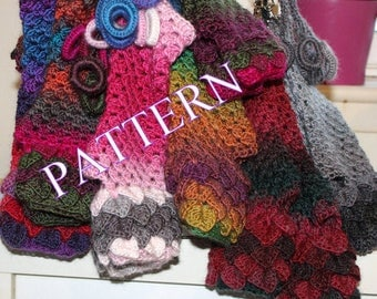 PDF PATTERN long Dragon Gloves Dragon Scale Gloves Fingerless Crocodile Stitch Game of Thrones Arm warmers crochet pattern 244-4