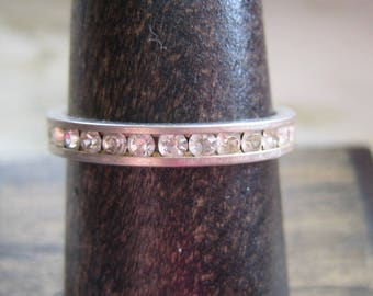 Vintage Silver Tone & White Cubic Zirconia Anniversary Band Ring