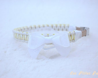 Small dog collar light yellow and white
