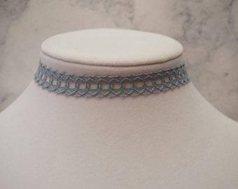 Light Blue/Grey Lace Choker Necklace