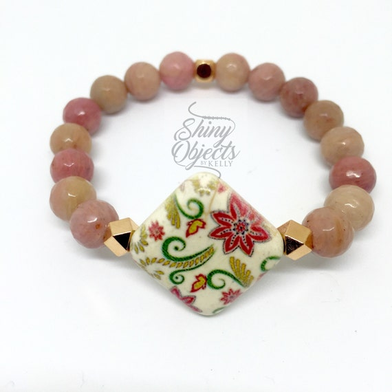 Rhodonite Bracelet with Rose Gold
