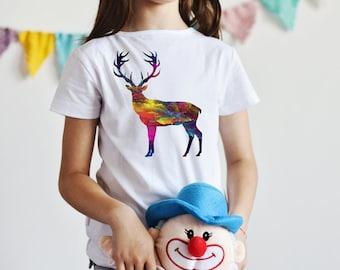 Deer T-Shirt - Animal Tee - Fashion T-shirt - White shirt - Printed shirt - Kids' T-shirt - Gift