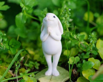 Miniature Dollhouse FAIRY GARDEN ~ Standing Yoga Bunny ~ NEW