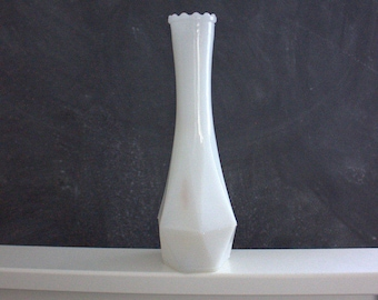 Vintage geometric midcentury milk glass vase with scalloped top detail