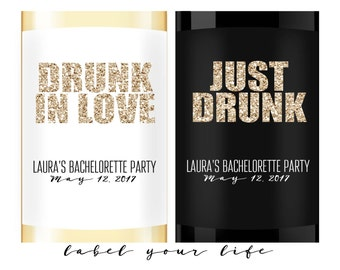 Bachelorette wine label, Bachelorette champagne label, Drunk in Love, Mini Champagne Labels, Mini Wine labels, Champagne bachelorette party
