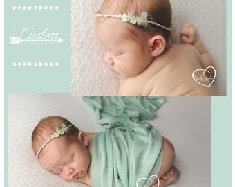 Tessa and Co. Newborn Headband & Wrap Set, Newborn Photo Props, Baby Wrap with Matching Handmade Headband, Photography Props, Baby Props