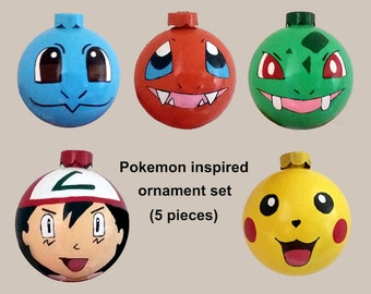 Pokemon Inspired Hand Painted Shatterproof Plastic Ornament Set (Pikachu, Bulbasaur, Charmander, Squirtle, and Ash Ketchum) Various Sizes