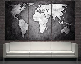 Black and white abstract world map 3 panel canvas or 5 panel canvas set Silver abstract world map modern wall art print on canvas room decor