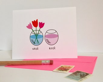 wine lovers card / funny friendship greeting card