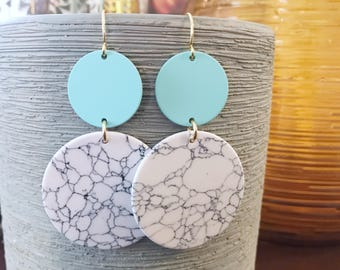 Mint gold and white marble circle earrings
