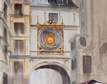 "ORIGINAL. Watercolor ""Rain falls"", Rouen, France."