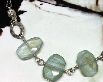 Aquamarine and Pyrite Gather Necklace
