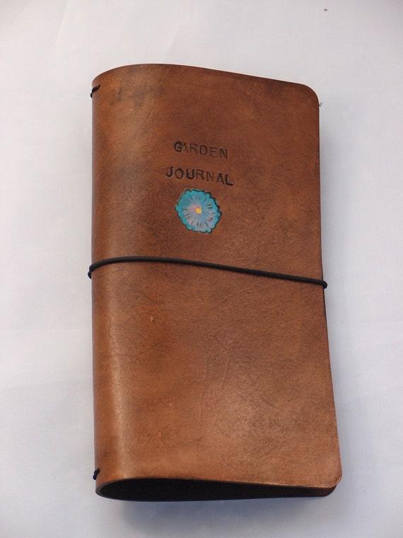 Leather Journal Planner Notebook Cover Regular Size Garden