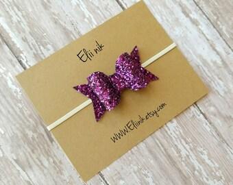 glitter bow headband, Purple glitter bow headband , baby headband, baby headband, baby boe headband, newborn headband, infant bow, hair bow